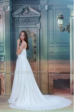 A-Line Sleeveless Chiffon Satin Sweetheart Wedding Dresses 2031084