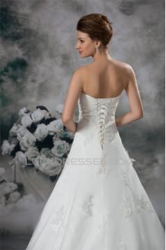 A-Line Sleeveless Sweetheart Lace Fine Netting Wedding Dresses 2031086