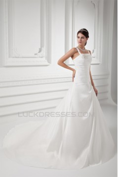 A-Line Sleeveless Taffeta Spaghetti Straps Beaded Wedding Dresses 2031088