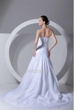 A-Line Sleeveless Taffeta Strapless Beaded Lace Wedding Dresses 2031089