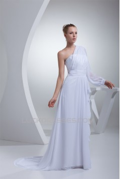 A-Line One Sleeve Chiffon Sweep Train Wedding Dresses 2030109
