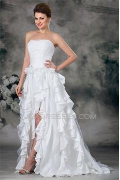A-Line Soft Sweetheart Organza Taffeta Sleeveless Wedding Dresses 2031090
