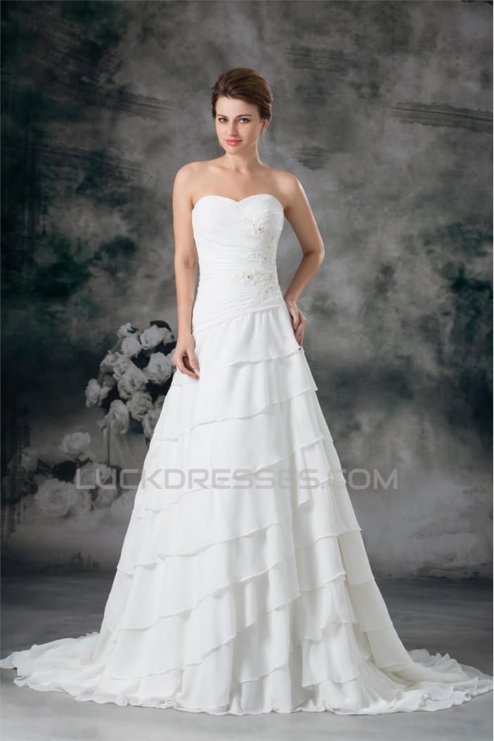 A-Line Strapless Chiffon Satin Sleeveless Beaded Wedding Dresses 2031092