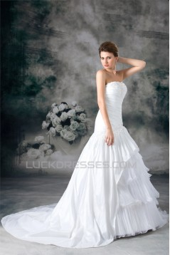 A-Line Strapless Organza Taffeta Sleeveless Best Wedding Dresses 2031093