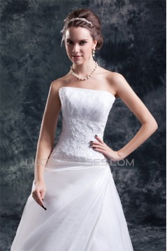 A-Line Strapless Satin Organza Sleeveless New Arrival Wedding Dresses 2031094
