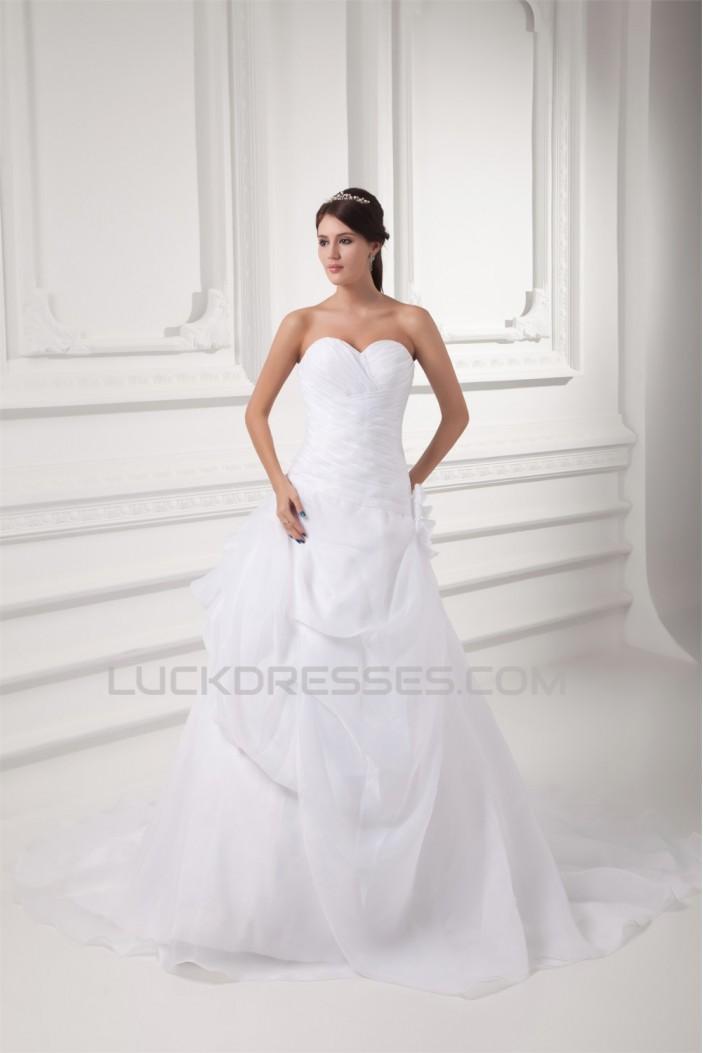 A-Line Sweetheart Satin Organza Sleeveless Wedding Dresses 2031095