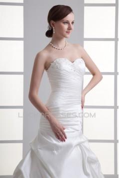 A-Line Sweetheart Satin Sleeveless Wedding Dresses 2031096