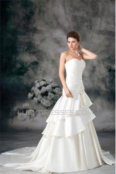 A-Line Sweetheart Satin Sleeveless Embellished Wedding Dresses 2031097
