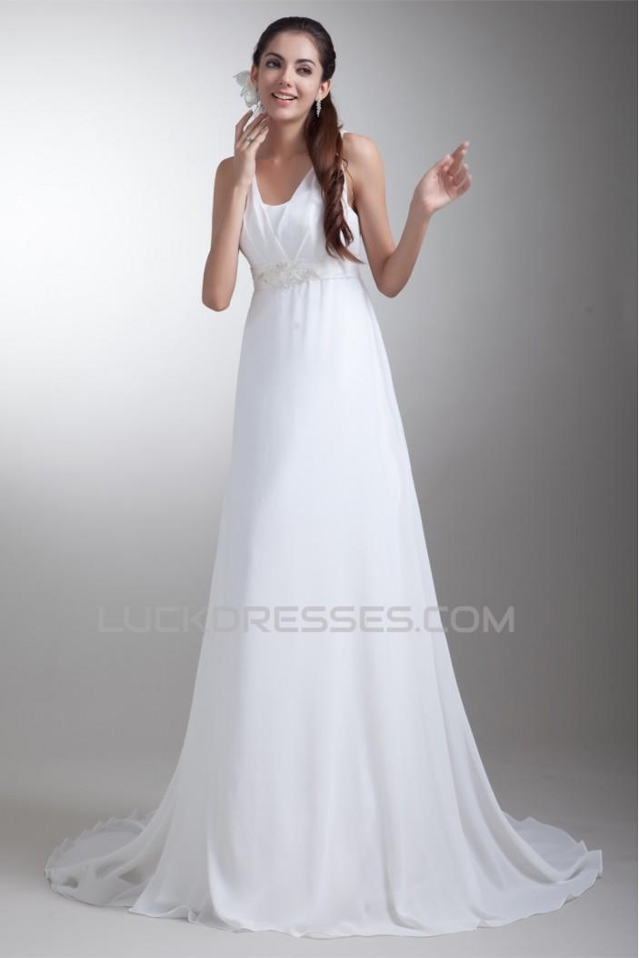 A-Line V-Neck Chiffon Satin Sleeveless Wedding Dresses Maternity Wedding Dresses 2031098
