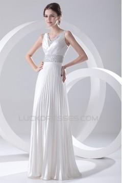 A-Line V-Neck Elastic Woven Satin Floor-Length Beaded Sequin Wedding Dresses 2031099