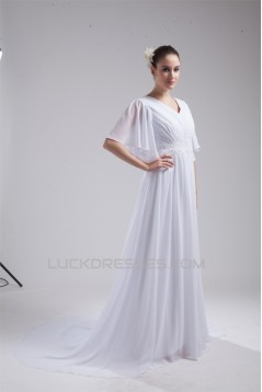 A-Line Chiffon V-Neck Half Elbow Sleeve Wedding Dresses 2030110