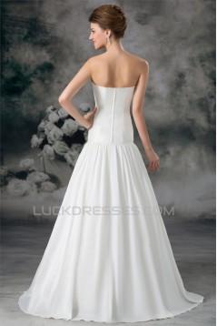 Amazing A-Line Sleeveless Satin Sweetheart Beaded Wedding Dresses 2031101