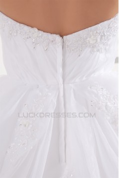 Amazing A-Line Strapless Sleeveless Satin Organza Wedding Dresses 2031102