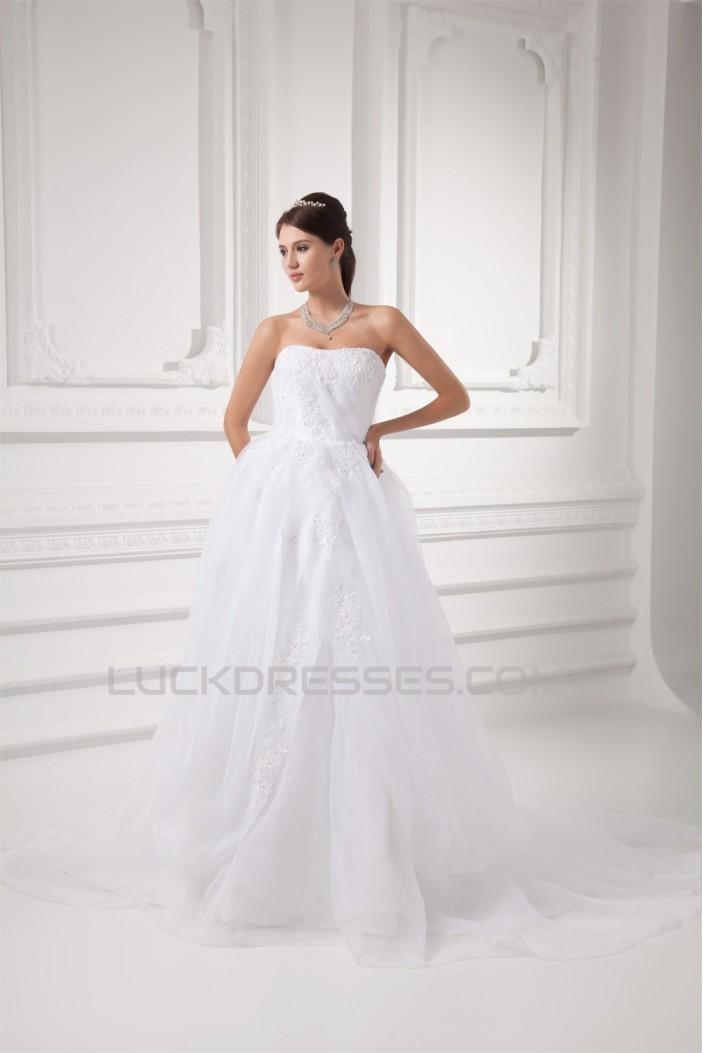Amazing A-Line Strapless Sleeveless Satin Organza Wedding Dresses 2031102