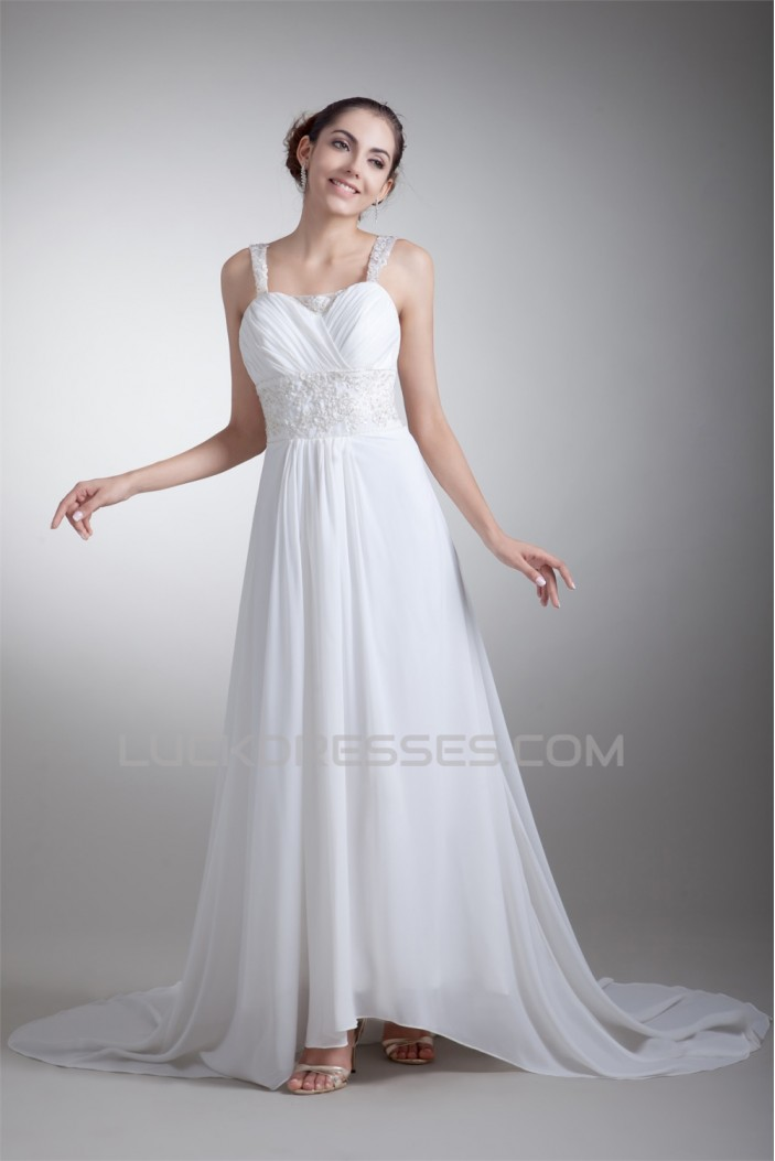Amazing A-Line Straps Chiffon Elastic Woven Satin Wedding Dresses 2031103