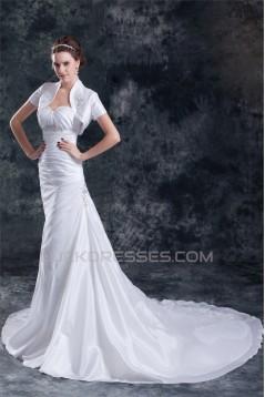 Amazing A-Line Sweetheart Taffeta Beaded Wedding Dresses with A Short Sleeve Jacket 2031104