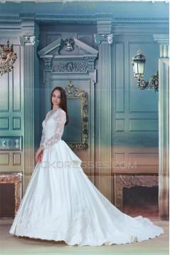 Amazing Ball Gown Long Sleeve Satin Lace V-Neck Wedding Dresses 2031105