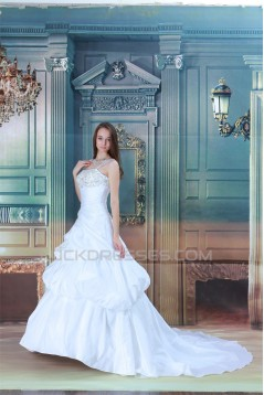 Amazing Ball Gown Straps Satin Sleeveless Beaded Wedding Dresses 2031106
