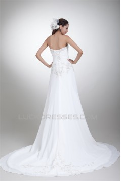 Amazing Chiffon Satin Sleeveless Sweetheart A-Line Wedding Dresses 2031107