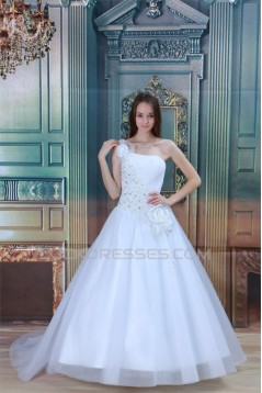 Amazing One-Shoulder Satin Netting A-Line Beaded Wedding Dresses 2031108
