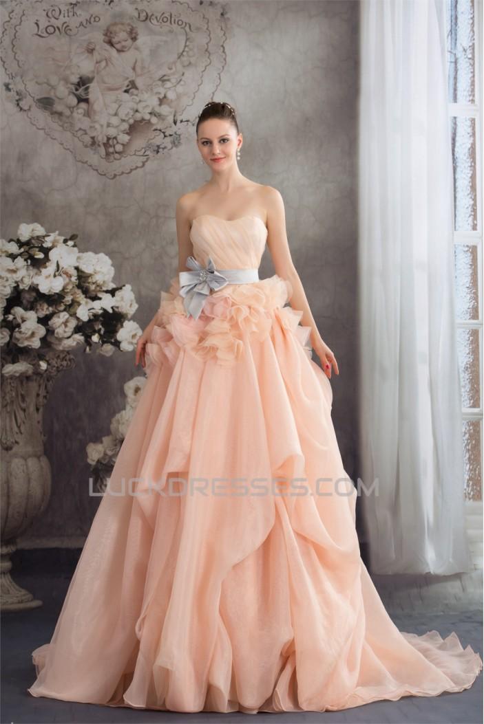A-Line Court Train Handmade Flowers Wedding Dresses with Color 2030111
