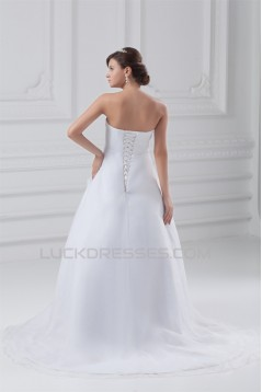 Amazing Sleeveless A-Line Strapless Satin Organza Wedding Dresses 2031111
