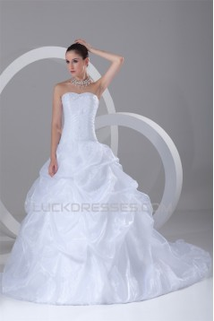 Amazing Satin Organza Sweetheart Sleeveless A-Line Beaded Wedding Dresses 2031112