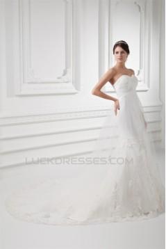 Amazing Sleeveless Satin Fine Netting Trumpet/Mermaid Sweetheart Wedding Dresses 2031115