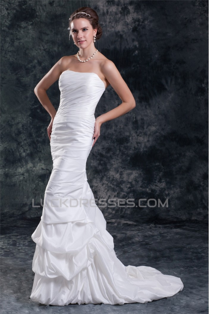 Amazing Taffeta Strapless Mermaid/Trumpet Sleeveless Wedding Dresses 2031118