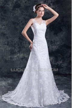 Amazing V-Neck A-Line Satin Lace Sweet Wedding Dresses 2031119