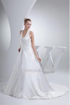 A-Line Halter Court Train Beaded Applique Satin Wedding Dresses 2030112