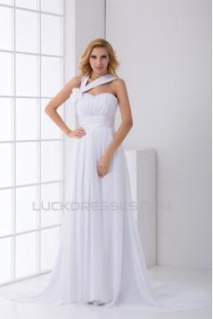Asymmetrical Sleeveless Chiffon Satin A-Line New Arrival Wedding Dresses 2031120