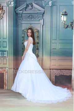attractive Sleeveless Satin Straps A-Line Most Beautiful Wedding Dresses 2031121