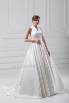 attractive V-Neck Sleeveless Ball Gown Satin Best Wedding Dresses 2031122