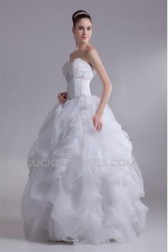 Ball Gown Sleeveless Satin Organza Sweetheart Beaded Wedding Dresses 2031124