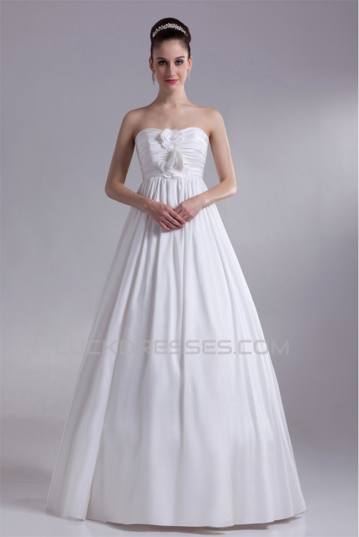 A-Line Taffeta Strapless Sleeveless Wedding Dresses Maternity Wedding Dresses 2031126