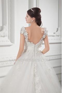 Ball Gown V-Neck Satin Fine Netting Embellished Wedding Dresses 2031127