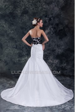 Beautiful A-Line Strapless Sleeveless Taffeta Lace Black White Wedding Dresses 2031128