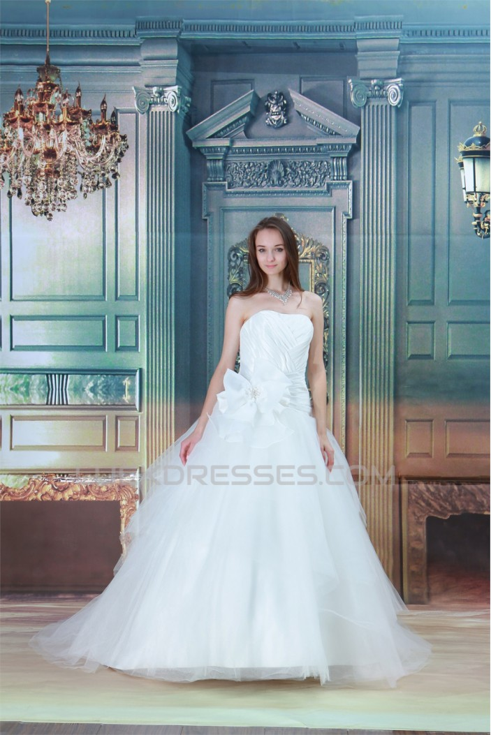 Beautiful Ball Gown Soft Sweetheart Satin Fine Netting Wedding Dresses 2031129