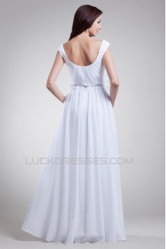 Beautiful Sheath/Column Off-the-Shoulder Chiffon Satin Beaded Wedding Dresses 2031132