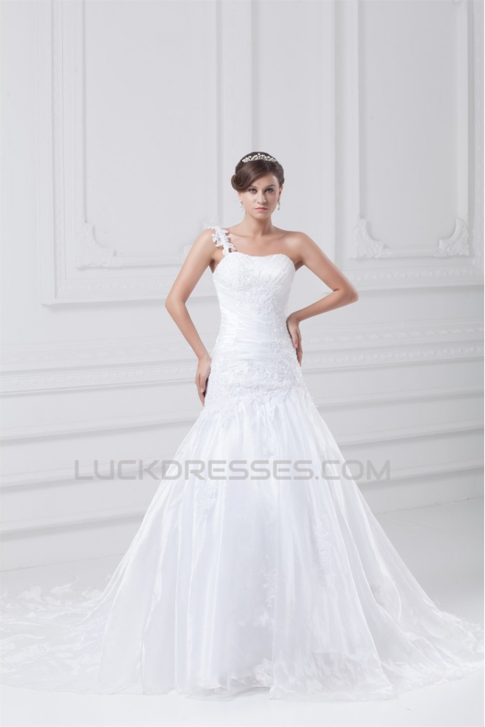 Beautiful Sleeveless A-Line One-Shoulder Wedding Dresses 2031133