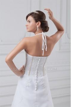 Beautiful Sleeveless Satin Organza A-Line Halter Wedding Dresses 2031135