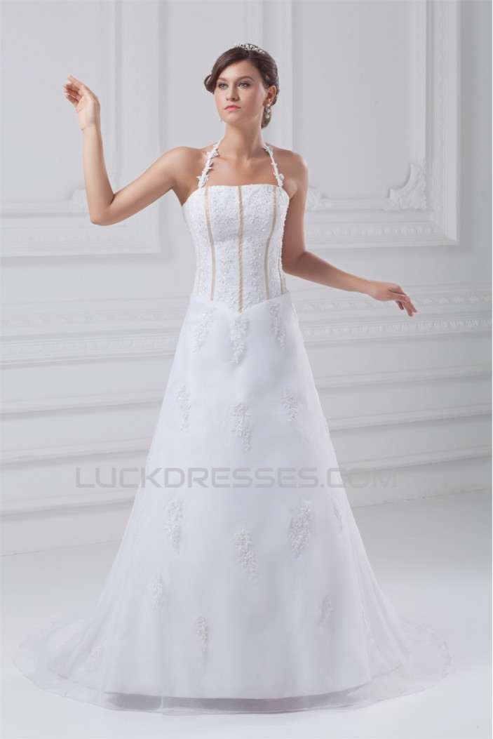 Beautiful Sleeveless Satin Organza A-Line Halter Wedding Dresses 2031135