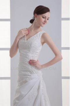 Beautiful Sleeveless V-Neck Taffeta Sheath/Column Lace Wedding Dresses 2031136