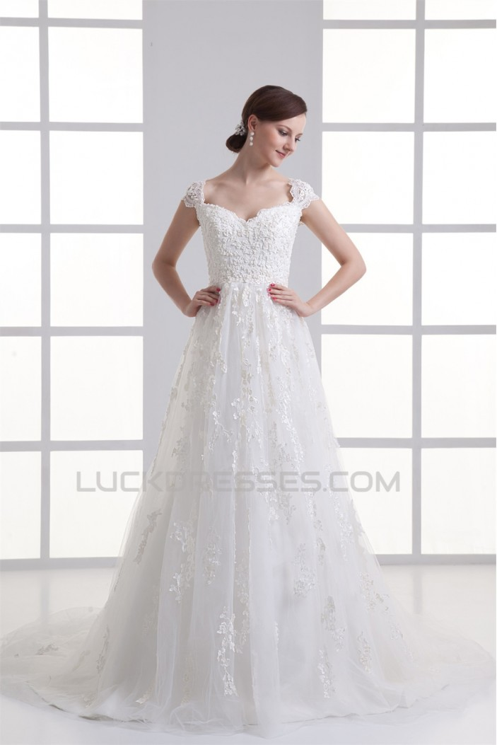 Bowl A-Line Capped Sleeves Satin Fine Netting Lace Wedding Dresses 2031138