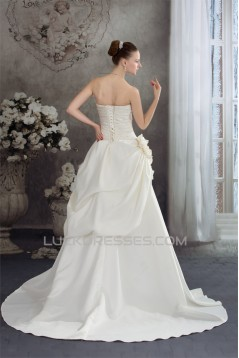 A-Line Strapless Court Train Beaded Lace Wedding Dresses 2030114