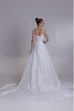 Breathtaking A-Line Taffeta V-Neck Sleeveless Sweet Wedding Dresses 2031140