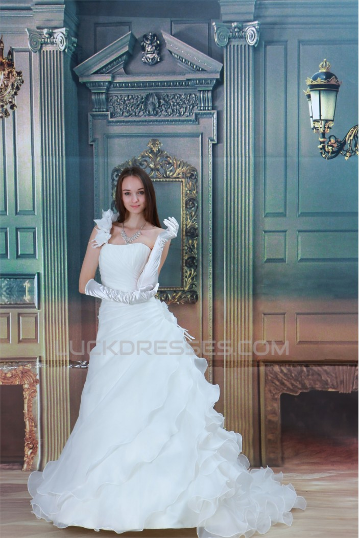 Breathtaking Sleeveless A-Line One-Shoulder Wedding Dresses 2031141
