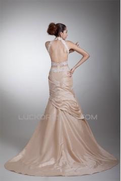 Breathtaking Sleeveless High Neck Taffeta A-Line Wedding Dresses with Color 2031142