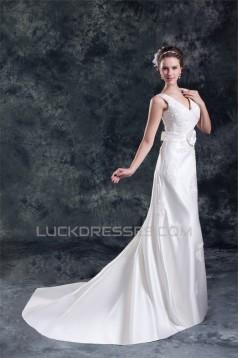 Breathtaking V-Neck Sleeveless A-Line Satin New Arrival Wedding Dresses 2031143
